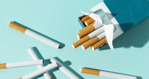 cigarettes on a blue background